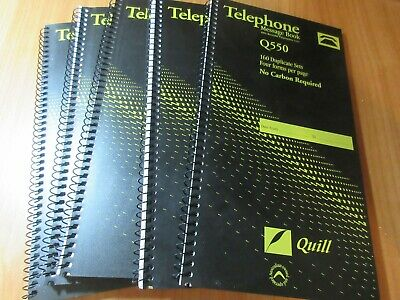 5 x Quill Telephone Message Book Dup 279 x 144mm 160Sets 4/View 1 lot only (O)