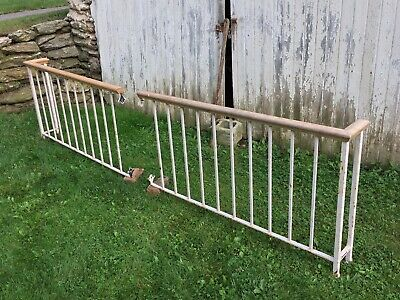 Vintage Wood & Cast Iron Porch Loft Railing Fence Baluster Architectural Salvage
