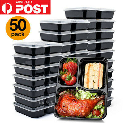 10/20/50Pc Food Container Plastic Disposable Take Away Microwave Lunch Box AU