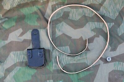 German WW2 Leather Compass Pouch With Strap Black Reproduction