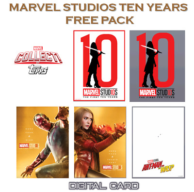 2019 MARVEL STUDIOS TEN YEARS FREE PACK CARDS (5 CARDS) Marvel Collect Digital