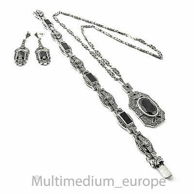 Art Deco Silber Collier Armband Ohrringe Set Onyx Markasite silver 🌺🌺🌺🌺🌺