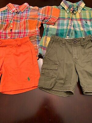 Ralph Lauren Polo Boys 2T Set Lot (4) A Pair Of Polo Shorts & Button Down Shirts