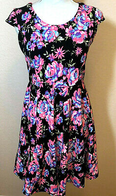 Pinky BRIGHT Neon Pink Ruffled Floral Dress Girls Size 16  Black Green White