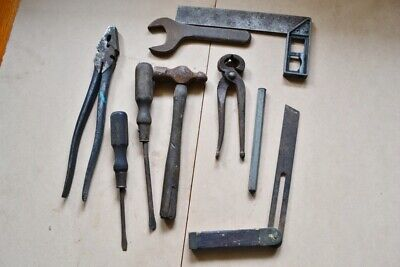 Vintage old tools square angle finder wire cutters hammer punch screw driver scr