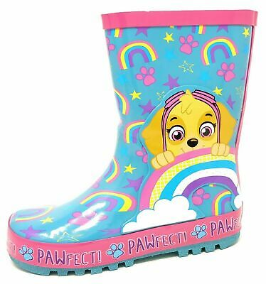 Kids Childrens Girls Blue Rainbow Paw Patrol Wellies Snow Rain Wellington Boots