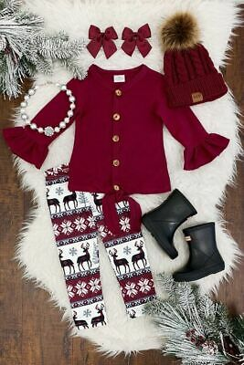 Newborn Baby Girl Christmas Long Sleeve T-shirt Tops + Pants Outfits Clothes US