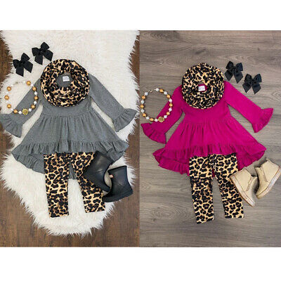 Boutique Toddler Kids Baby Girl Tops Dress Leopard Pants Leggings Outfit Clothes