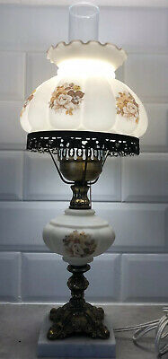 Vintage Victorian Kerosene Style Marble & Brass Base Table Lamp Made In Italy