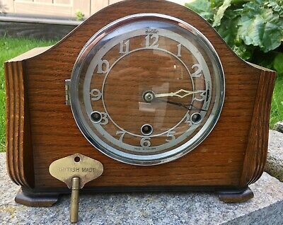 Vintage Bentima Oak Case Mantle Clock & Key Westminster Chime