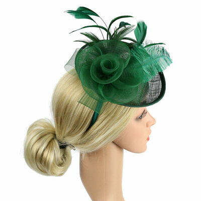 Women Fascinator Hat Flower Feather Headpieces Lady's Day Ascot Races Cocktail