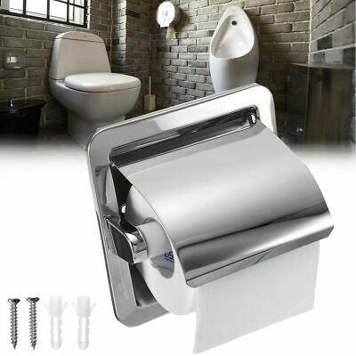 Stainless Steel Roll Toilet Tissue Holder Paper Wall Mounted Bathroom Recessed