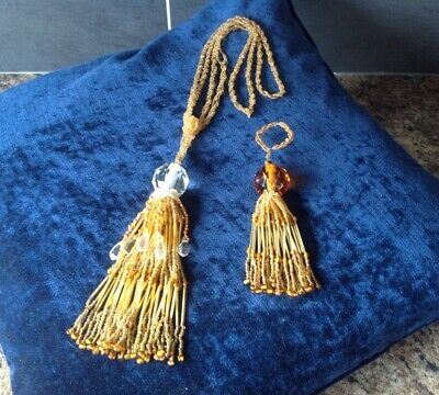 Vintage French Antique Gold & Amber Beaded Curtain Tie Back & Key Tassel
