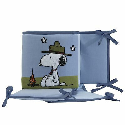 Lambs & Ivy Snoopy's™ Campout with Woodstock Blue 4-Piece Baby Crib Bumper