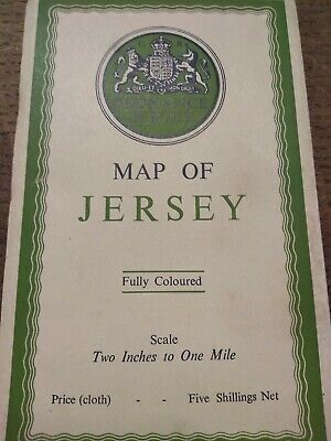 Ordnance Survey Map Of Jersey Fully Coloured Vintage Dated 1933 Cloth