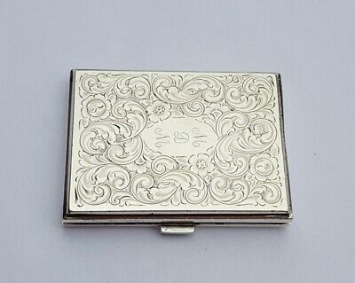 Sterling Silver Mirrored Powder Compact by R Blackinton & Co Flower Scroll