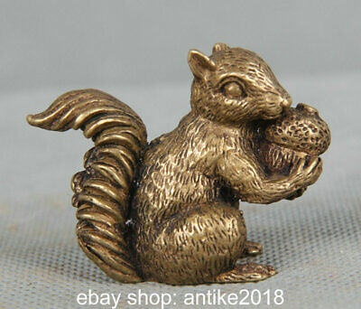 4CM Old Chinese Bronze Copper Feng Shui squirrel Animal Statue Sculpture