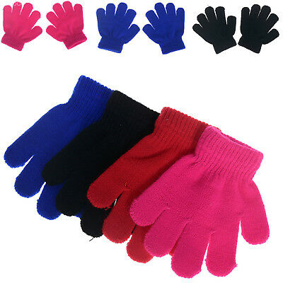 2/5 Pairs Boys Girls Warm Knitting Gloves Kids Mittens Winter Full Finger Gloves