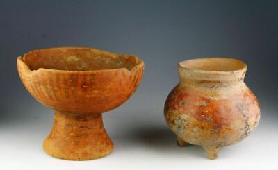 *Sc*A Pair Of Pre Columbian Pottery Pedestal Bowl And Tripod Jar, Narino