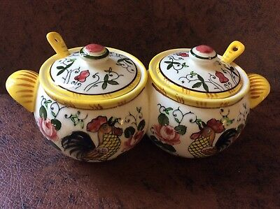 Vintage Jam Jelly Condiments ROOSTER & ROSES PY Ucagco Early Provincial Japan