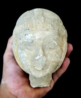 Ancient Egyptian Goddess Isis Hathor Head Sculpture Antique Stone Late Period
