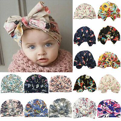 Cute Baby Toddler Floral Print Turban Knot Beanie Hat Indian Head Bands Wrap Cap