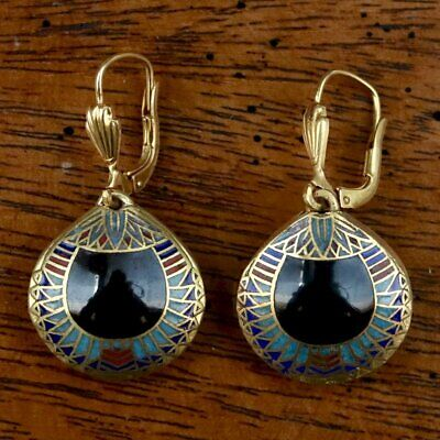 Vintage 1970s Shashi Black Scarab Earrings - Museum of Jewelry