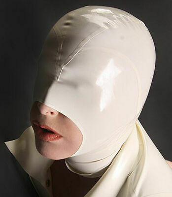 Latex Face Mask Sexy Rubber Hood Open Mouth for Party Wear Catsuit Unique  White
