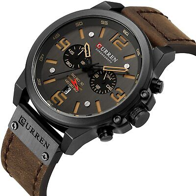 Mens Wristwatches CURREN Top Sport Quartz Leather Military Army Watch