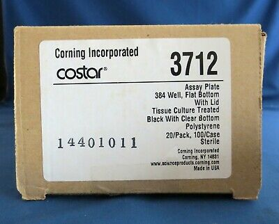 Pack 20 Corning 384 Well  Black Assay Plates 112 μl # 3712 Clear Bottom