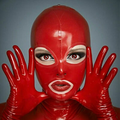 Latex Face Mask Rubber Unisex Hood Gummi For Party Wear Unique Sexy 0.4mm Red