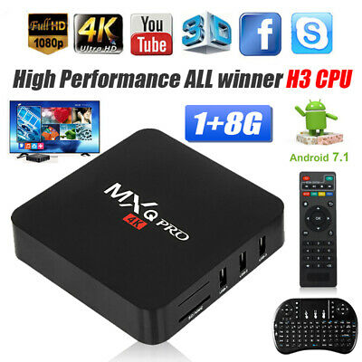 MXQ Pro Media Streamers 4K Ultra HD 3D Wifi Android 7.1 Quad Core Smart TV Box