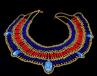 beautiful Antique necklace 5 Scarabs stone Beads handmade Egyptian Faience Seal