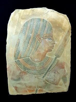 Very Rare Ancient egyptian relief king tut holding a snake Wall Plaque Sculpture
