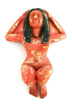 Very Rare Egyptian Antiques Queen Sculpture ISIS Hathor Figurine Faience Amulet