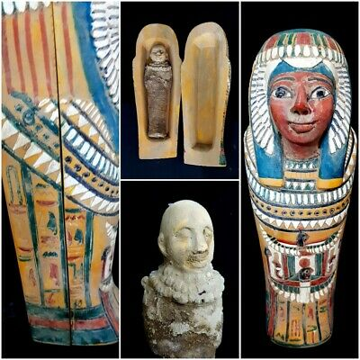 Rare Ancient Egyptian Royal Shabti Ushabti blue Hieroglyphs Statue Faience Mummy