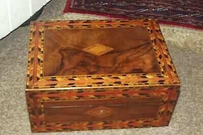 Antique  Victorian Walnut Inlaid Work Sewing Box