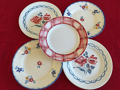 5  Anciennes Assiettes A Dessert  Digoin   (  Cannes ,Mary Lou,Rostand.) N°