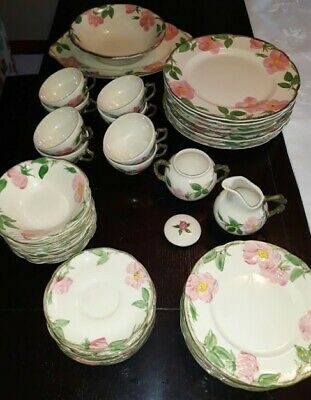 USA Franciscan Desert Rose Hand Decorated Earthenware 45-Piece- 8 Place Settings