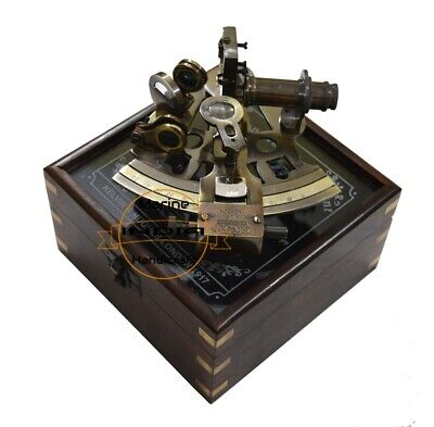 Antique Brass Sextant Vintage Style Ship Navigation Sextant with Free Wooden Box