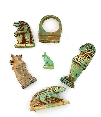 Rare egyptian amulets collection Faience Egyptian antique Horus Blue Eye art