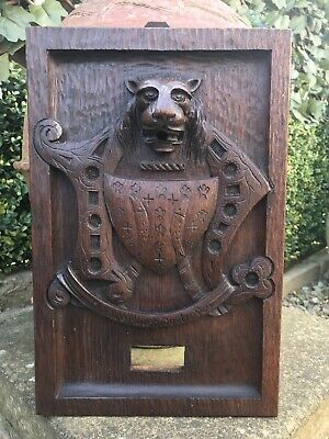 Antique Victorian Carved Wood Gothic French Heraldic Lion Carving Wooden Plaque