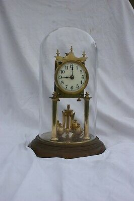 Antique german 400 day anniversary glass domed clock, not working