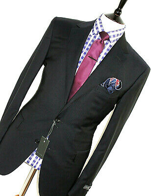 Bnwt Gorgeous Mens Pal Zileri Navy Micro Check Check Slim Fit Suit 44R W38