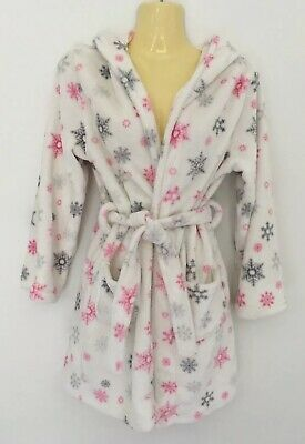 New Look White/Pink Soft Dressing Gown Age 10 - 11 Years