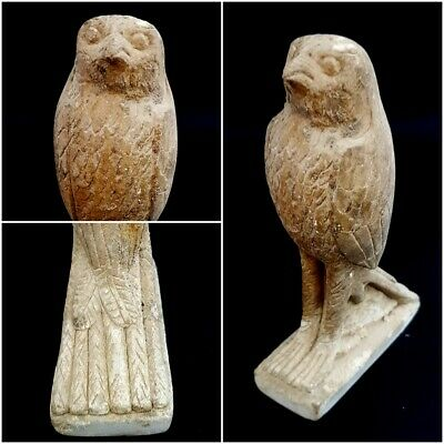 Rare Ancient Egyptian sitting antique stone Horus Falcon late period 332-30 B.C