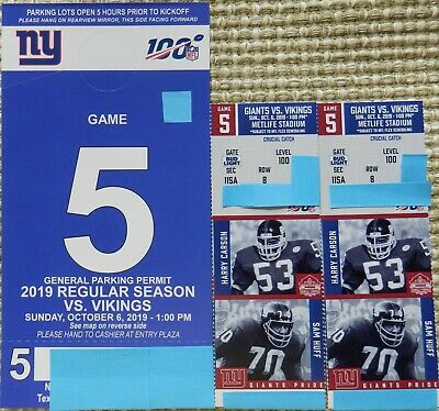 NY Giants vs Minnesota Vikings 2 GREAT LOWER LEVEL tickets Sun 10/6 + Parking