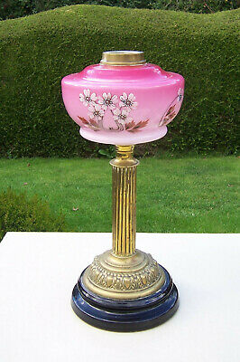 Antique Pink to Cranberry Painted Glass Oil Lamp Font on Brass Column Base