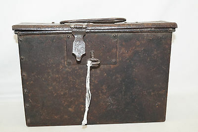 Cash Box Box Ancient with Castle and Carrying Handle Handmade Documents Box
