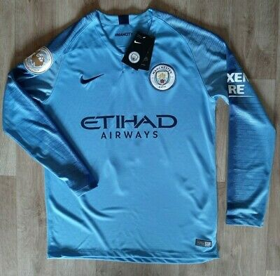 Manchester City NIKE Home Shirt Mens 2018 2019 Size S Long Sleeve BNWT